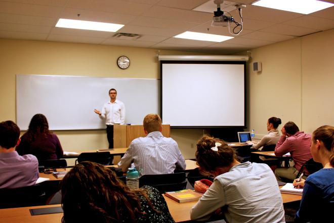 Brett Larson teaching a class at Patrick Henry College