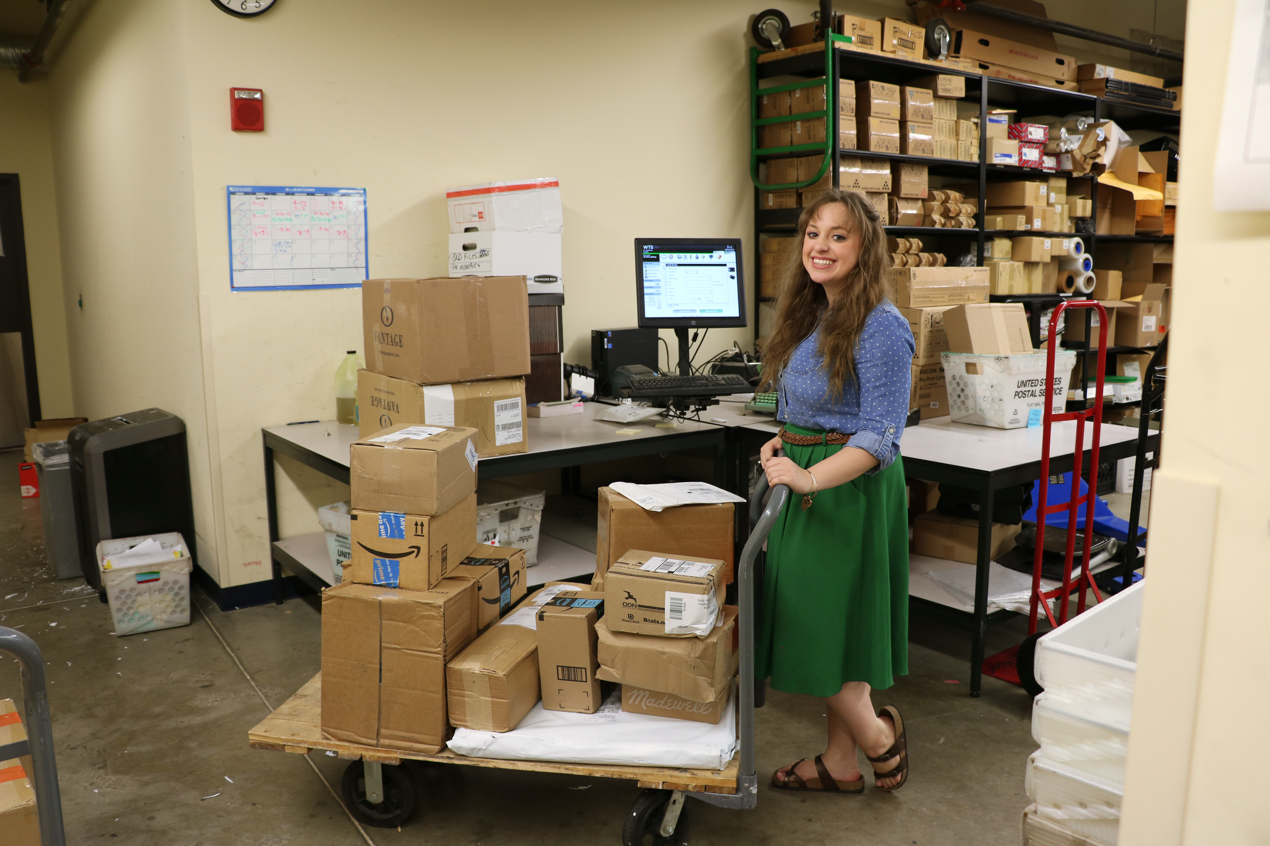 Rachel in the mailroom