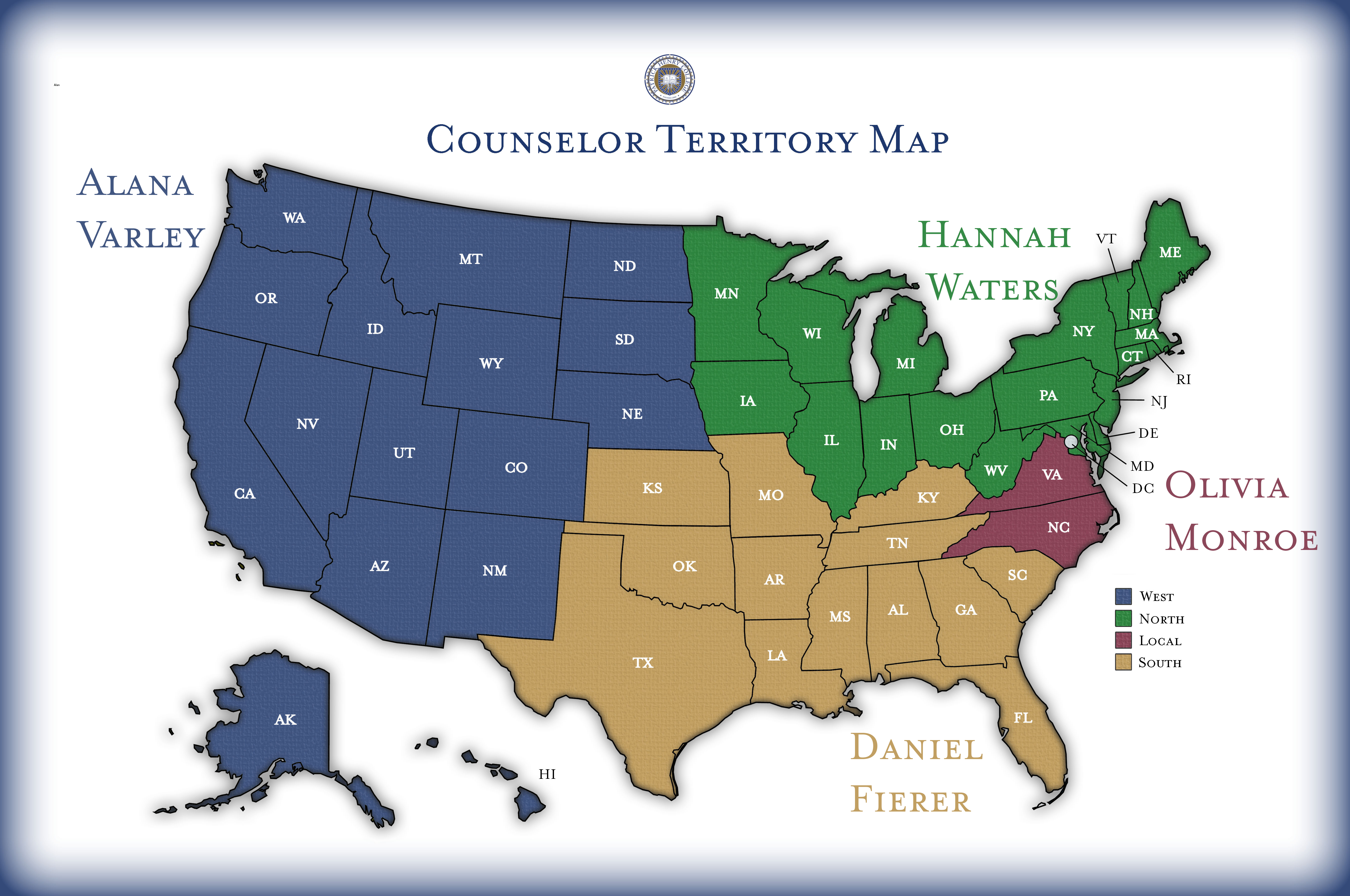 PHC Admissions Counselor Territory Map