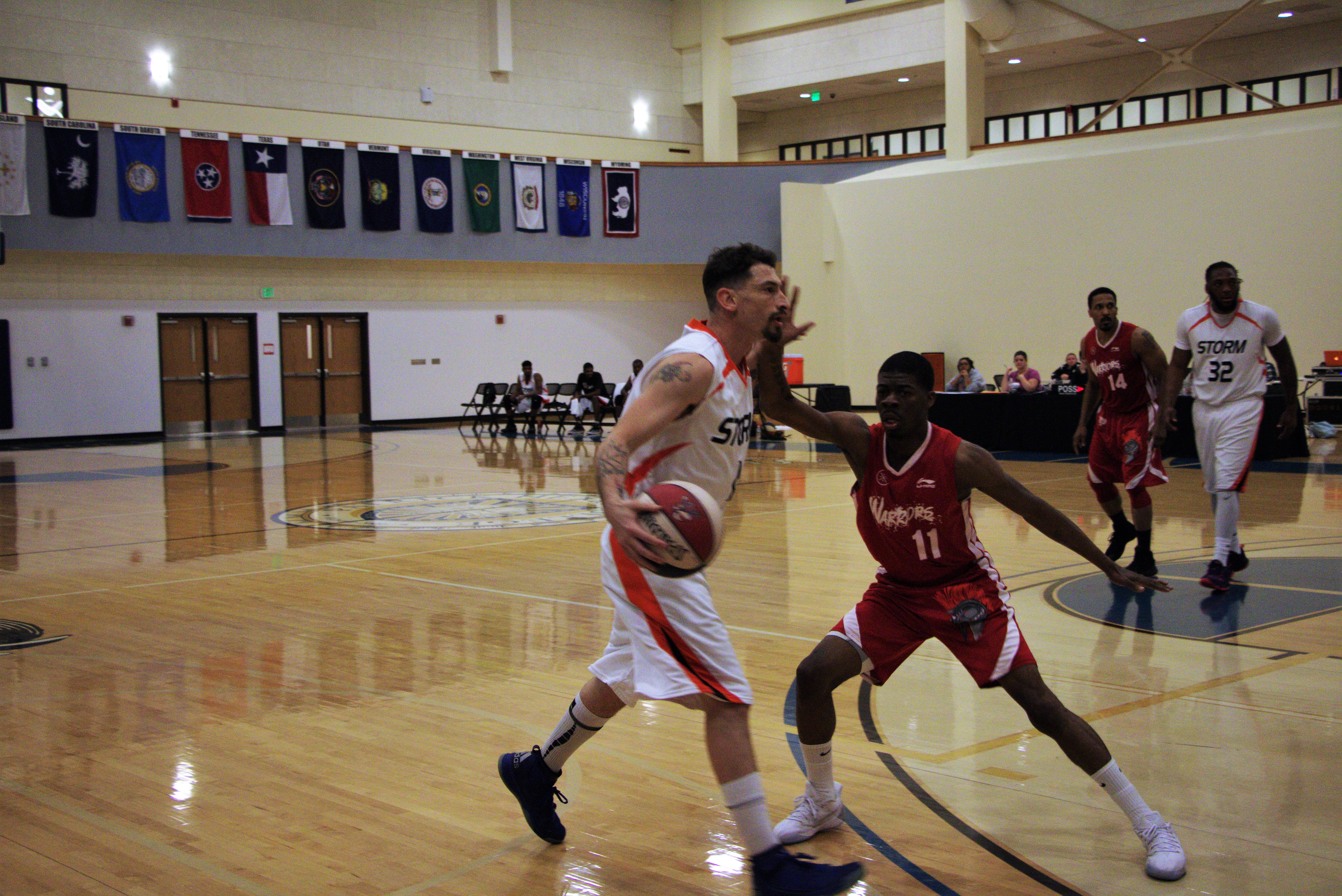 Virginia Storm forward Randy Gill faces an opponent from the DMV Warriors during a game at Patrick Henry College (PHC)