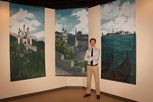 Erik Landstrom's art in Patrick Henry College (PHC) chorale practice room