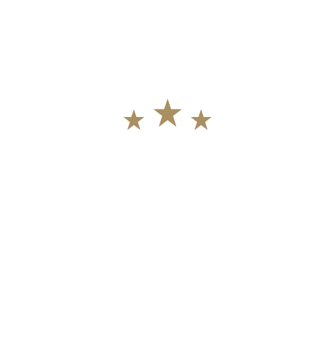 PHC 25 Years Logo, white with gold stars, space at top_White