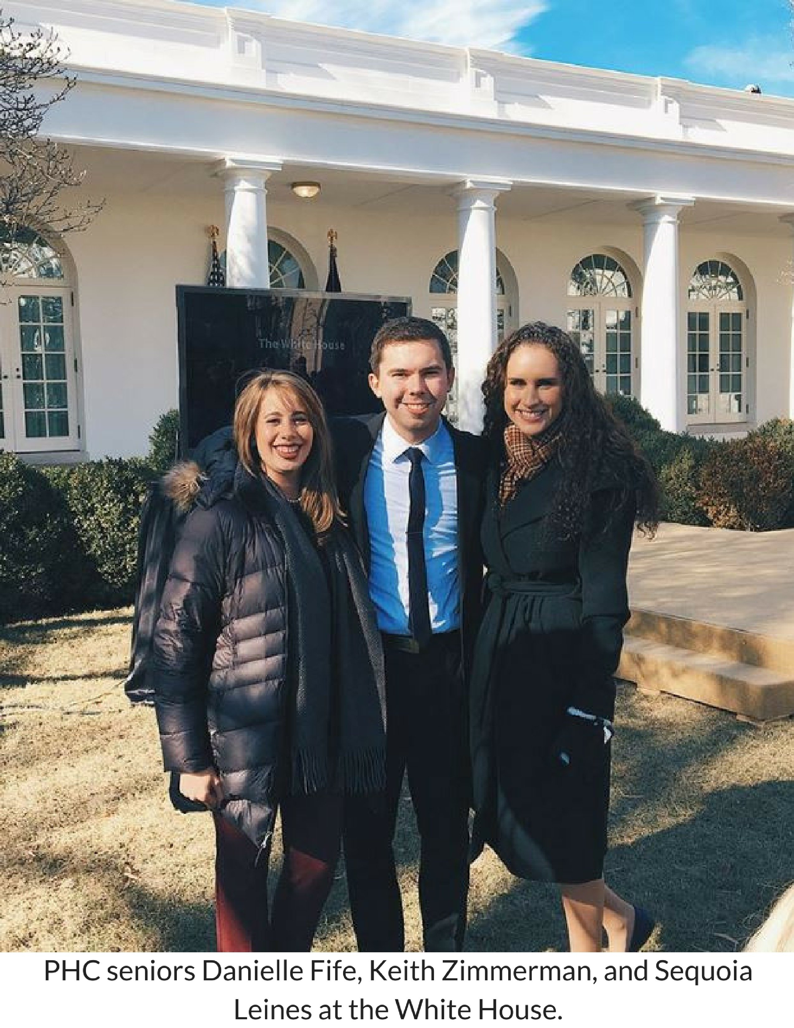 PHC seniors Danielle Fife, Keith Zimmerman, and Sequoia Linesat the White House..jpg