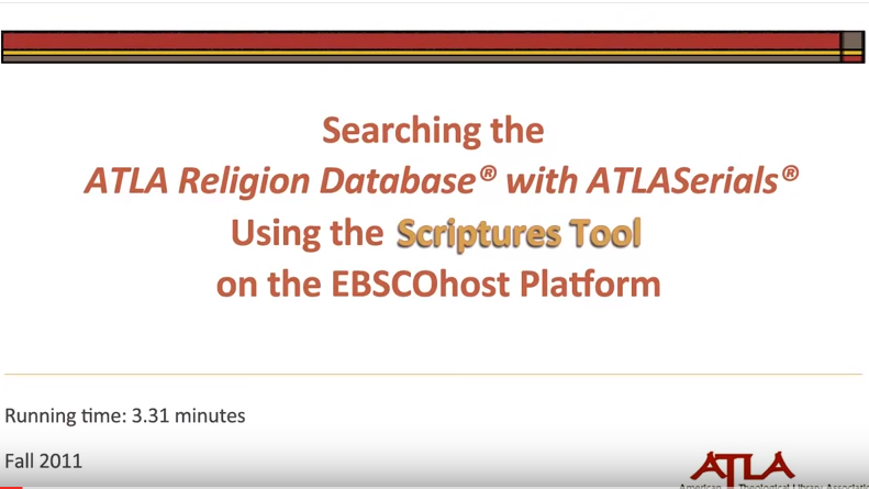 ATLA: Searching Citations: The Scriptures Tool