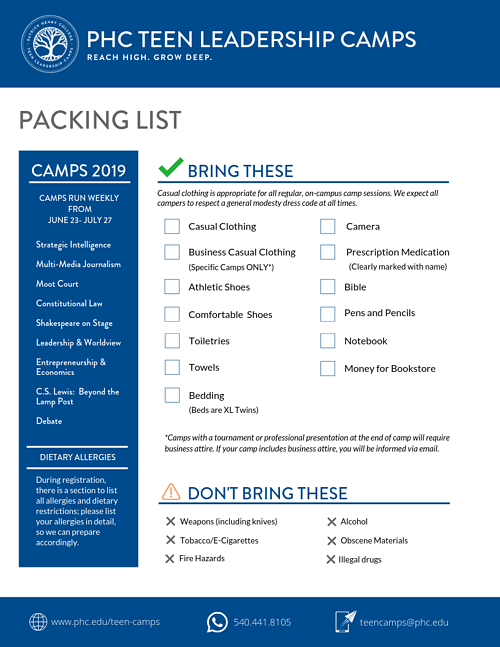 TLC Packing List 2019