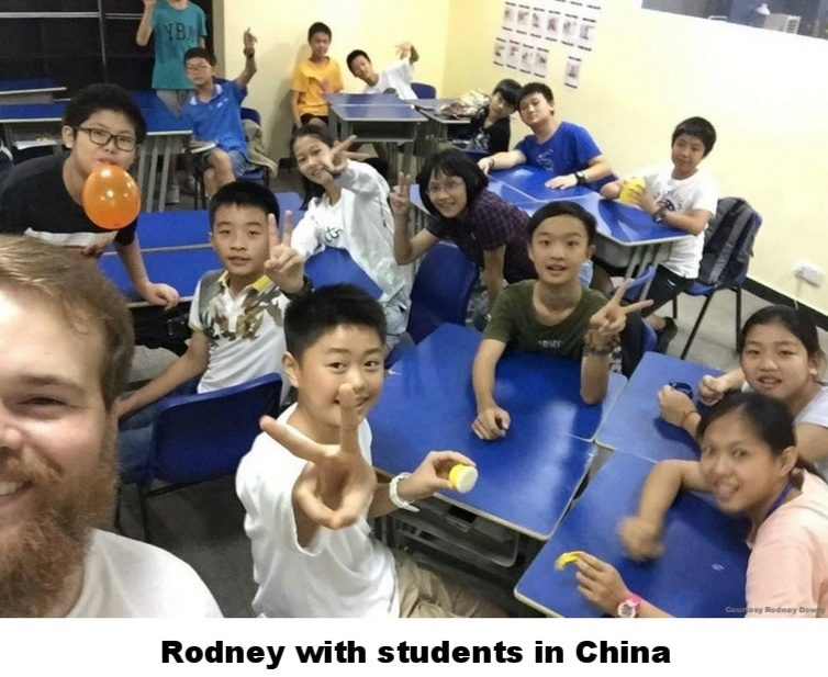 Rodney with students in China