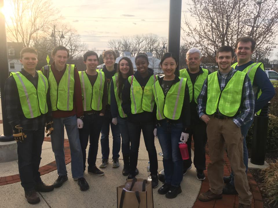 Patrick Henry College (PHC) student volunteers and PHC President Jack Haye at Purcellville Town-Wide Cleanup Day