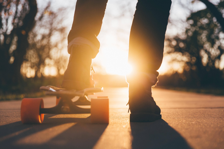 college student on skateboard