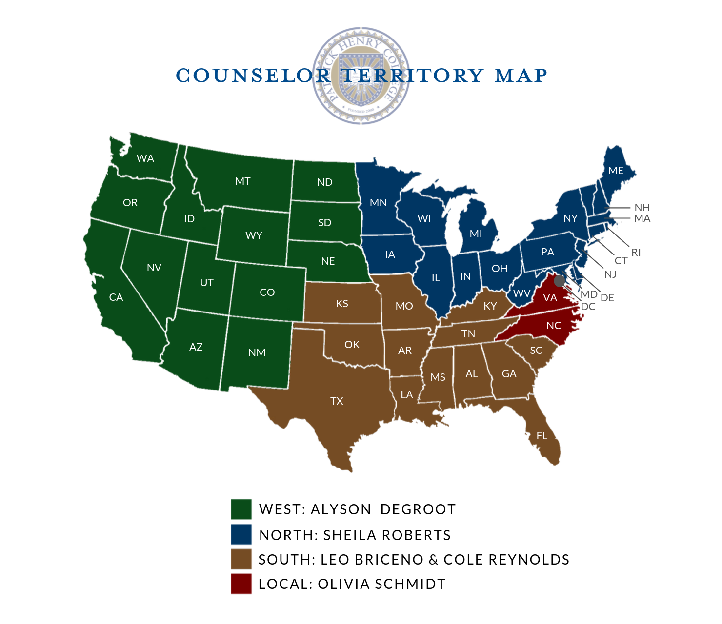 Admissions Counselor Territory Map Fall 2019-1