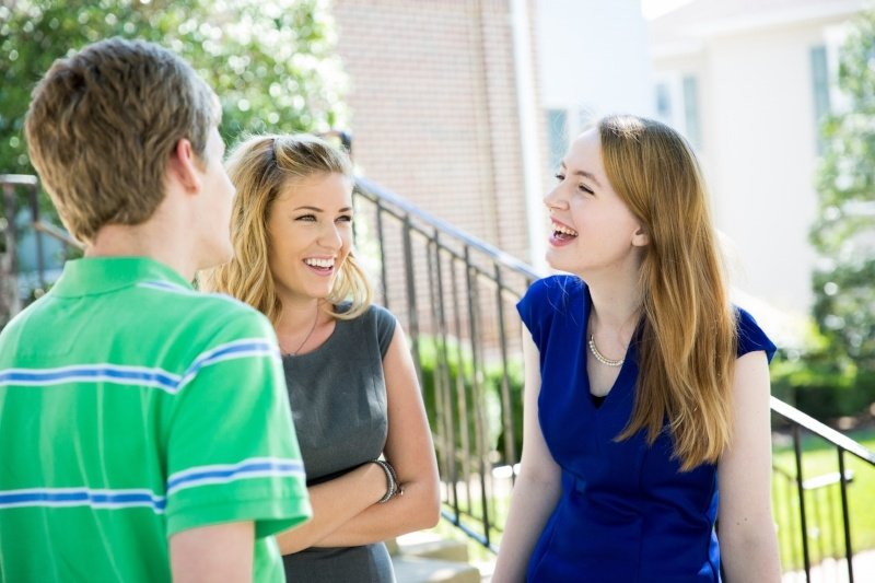 Students Laughing Talking Outside Dorm Campus Life Patrick Henry College