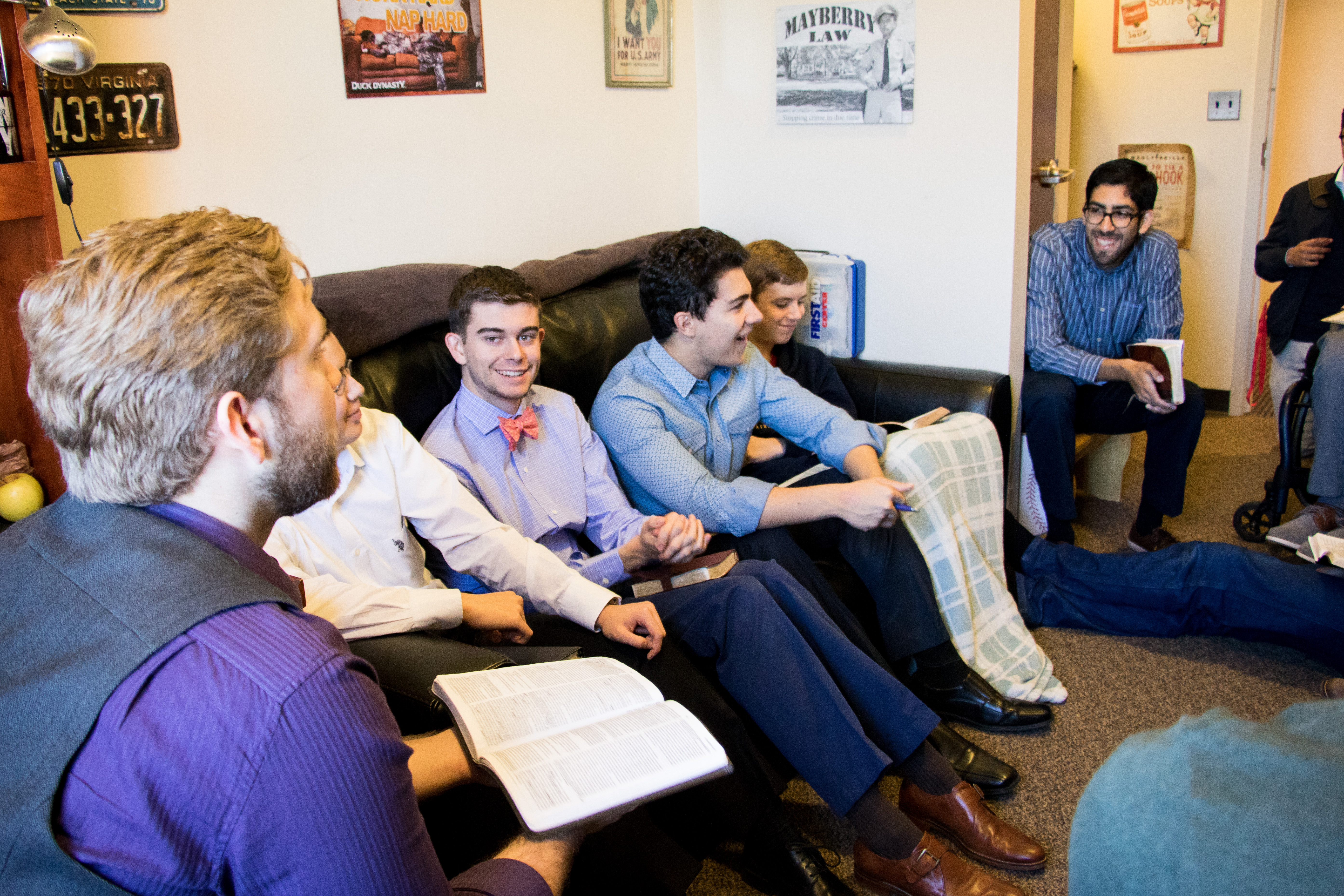Patrick Henry College Students meet for wing chapel in a men's dorm